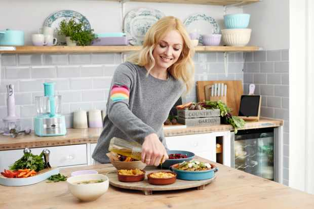 Fearne Cotton in a kitchen for Swan appliances
