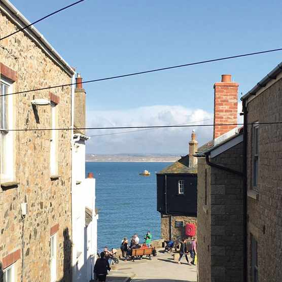A view through the houses to the sea in St Ives