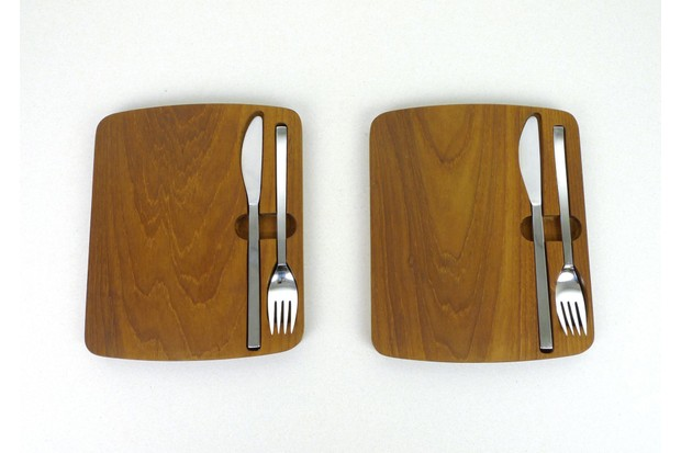 Mid-century German teak picnic boards with cutlery, £90 for two, Pamono