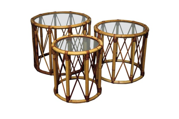 Circular bamboo and rattan nest of tables, £350, Cubbit Antiques at Decorative Collective.