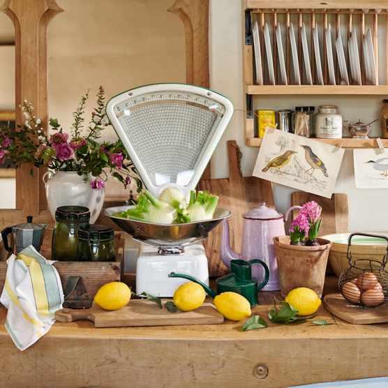 Rustic birds & botanicals country kitchen
