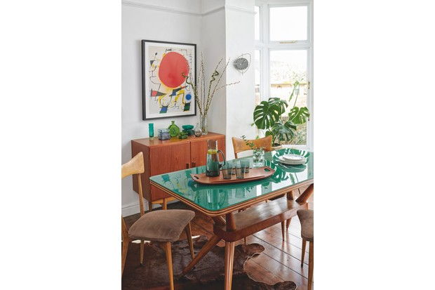1950s dining table and 1960s dining chairs