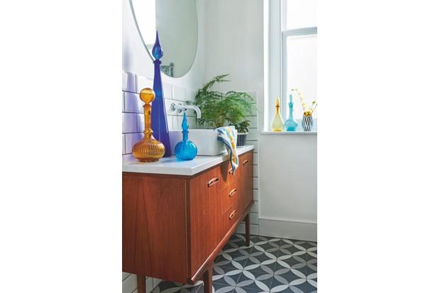 Mid-century cabinet in a bathroom