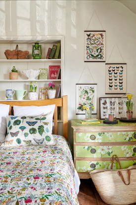Rustic birds & botanicals styled bedroom