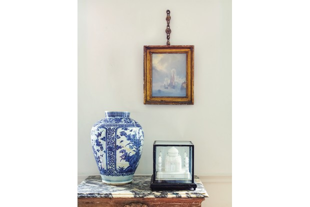 Chinese Ginger jar styled next to painting
