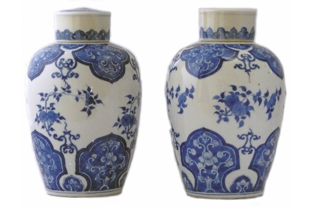 Kangxi blue-and-white lidded ovoid jar, £2,950 a pair, Catherine Hunt Oriental Antiques.