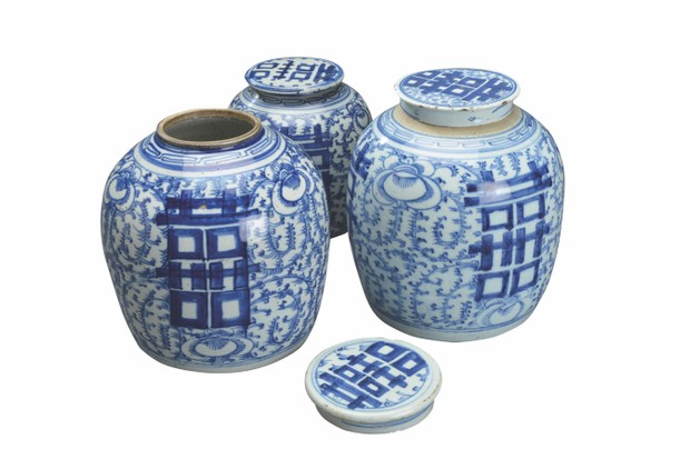 Antique Chinese ginger pots, £726 for three, Pamono.