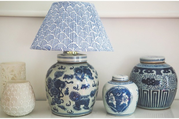Lions ginger jar table lamp base, £217, with Indigo Wave lampshade, £89, The Ginger Jar Lamp Co.