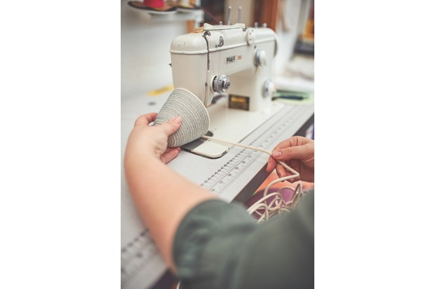 Jessica Geach stitching pieces by machine