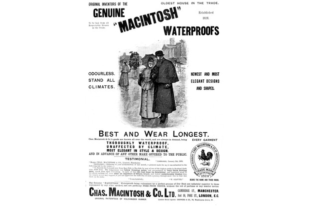 An advertisement for Macintosh waterproofs designed for men and women. 1891