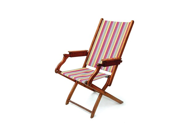 Striped antique deck chair from David Girffith Antiques