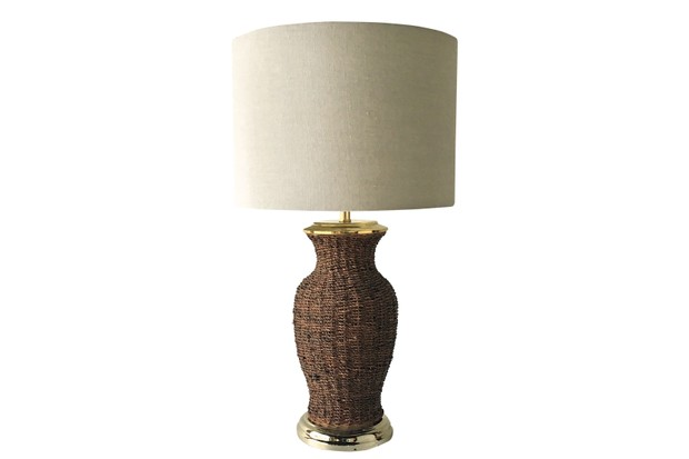Woven reed 1970s table lamp, Talisman London