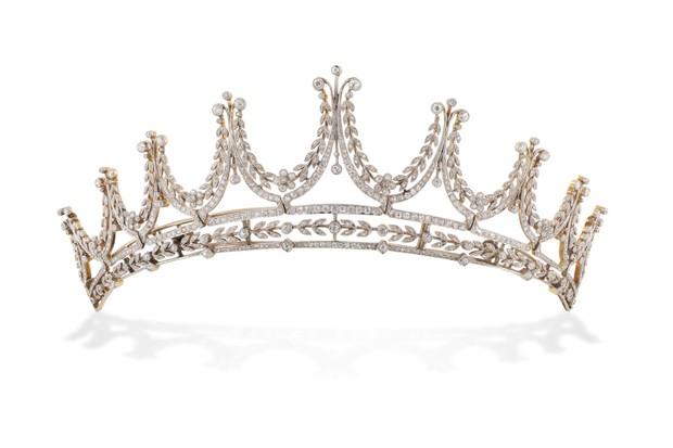 An Edwardian diamond tiara, worn by Lady Cora, circa 1900