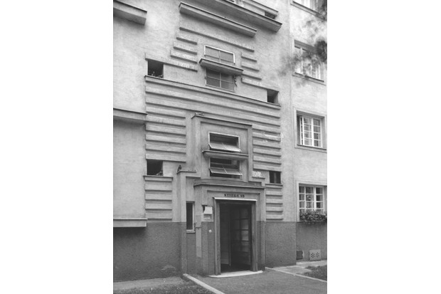 Austria, Vienna, Stromstrasse 36 - 38, Detail, Multiple family dwelling from the so called 'Red Vienna', designed to host 70,000 apartments and numerous common facilities, The entrance to scale number 15. (Photo by Electa / Mondadori Portfolio via Getty Images)