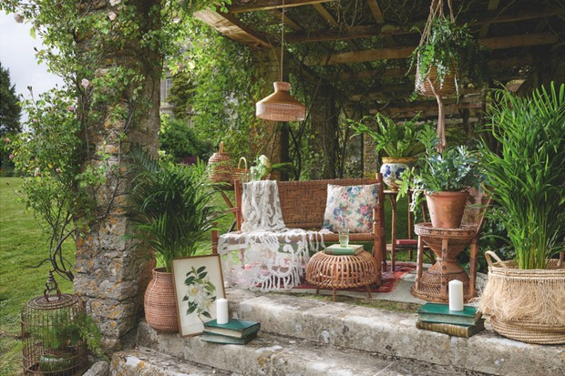 Vintage rattan set in the garden