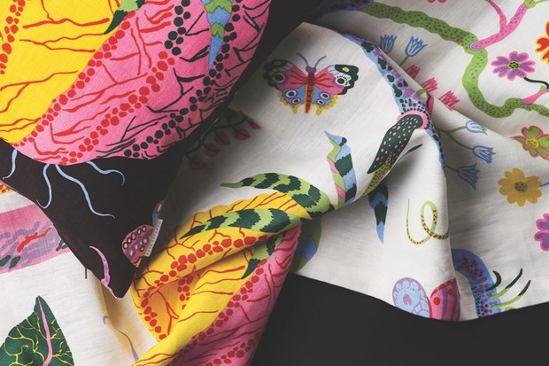 Josef Frank Hawai print cushion and fabric