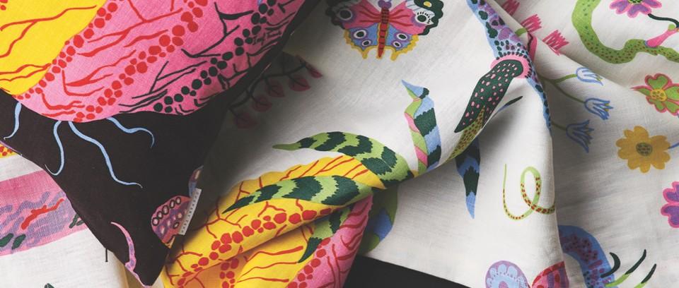 Josef Frank Hawai print cushion and fabric