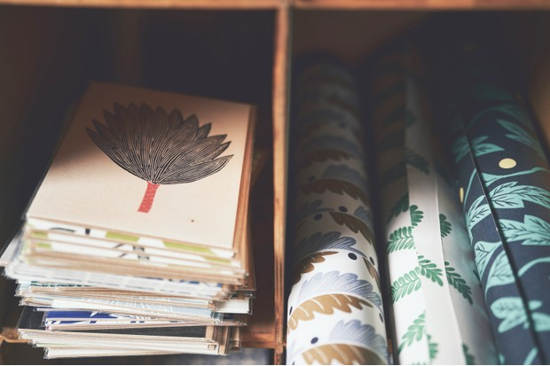 Wallpapers and stationary printed by Kiran Ravilious