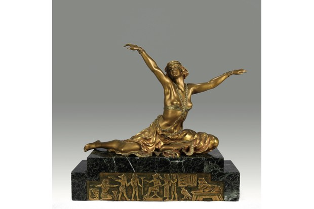 Theban Dancer, an early 20th-century gilt and enamel bronze figure by Claire Colinet, £19,500, Hickmet Fine Arts.