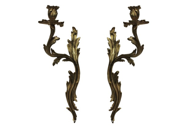 French Louis XV-style ormolu sconces
