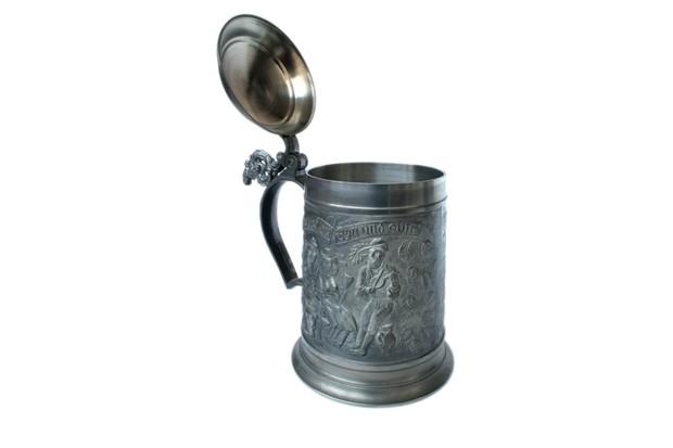 antique German pewter beer stein