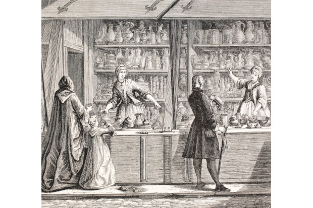 Illustration of a Parisian shop selling Pewter