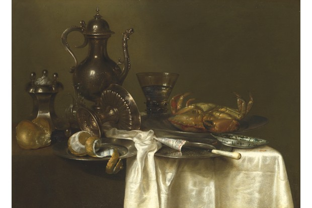 Pewter and Silver Vessels and a Crab still life by Willem Claesz