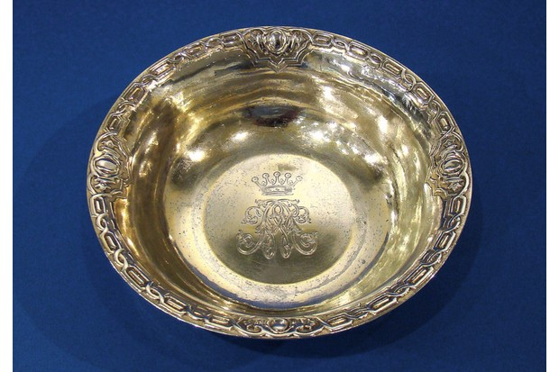 An earl's gilded silver shaving bowl, made by John Samuel Hunt in 1850, £1,275, Daniel Bexfield Antiques.