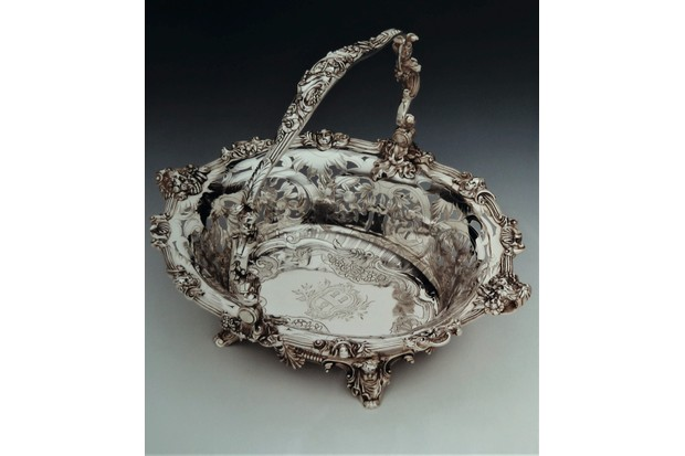 Silver basket made by Paul de Lamerie in 1742, sold at Alastair Dickenson