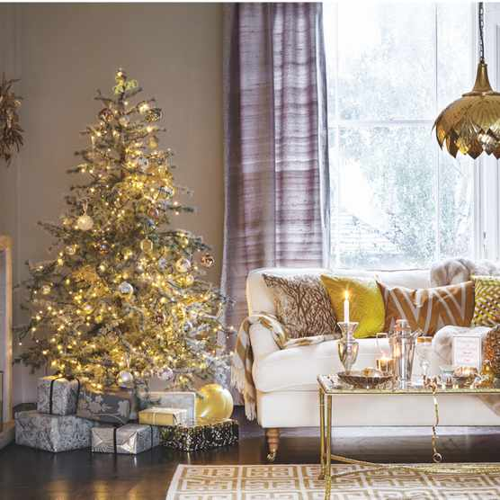 Opulent Christmas tree decorated with gold