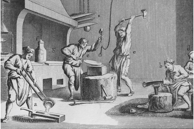 An illustration showing silversmiths and goldsmiths at work, c1746