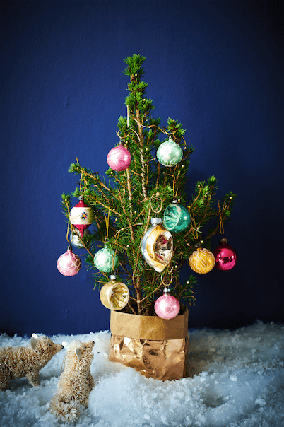 Real rooted Treasure Tree with pop-up pot, fairy lights and vintage-style baubles, £35, Bloom & Wild.