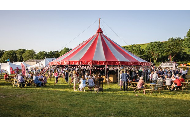 Tent and a crowd at Chalke Valley History Festival