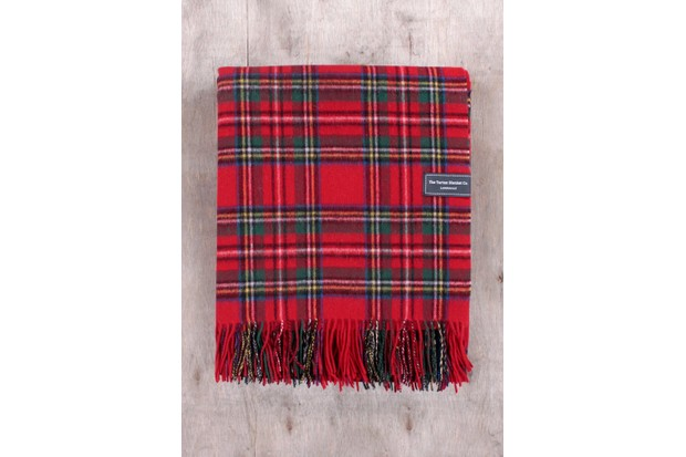 Lambswool knee blanket in Stewart Royal Tartan