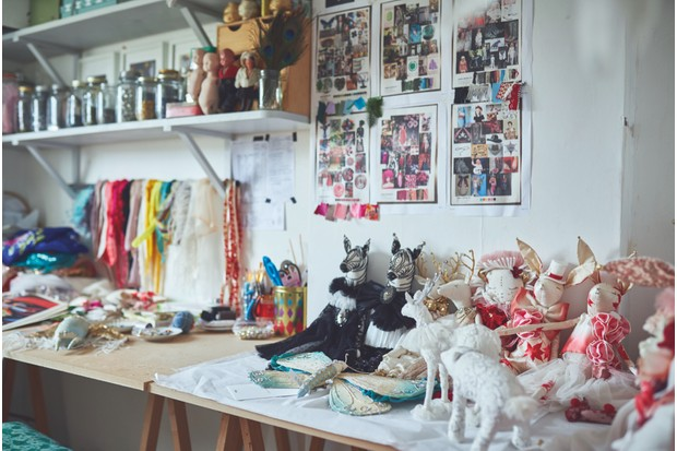 A collection of Alice's delicate dolls sat in her Somerset-based studio