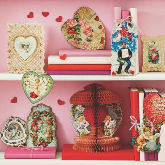 A collection of antique and vintage valentine's cards