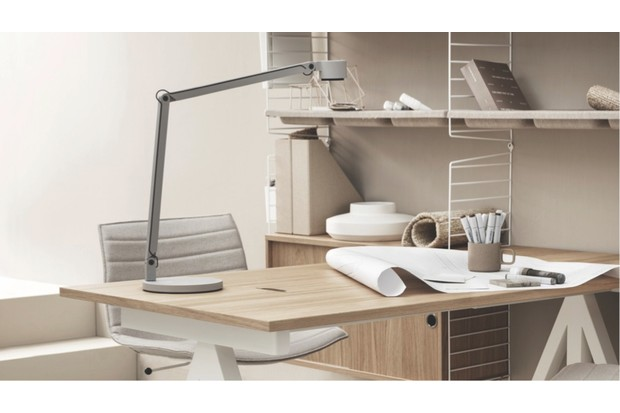 String shelving used as a desk