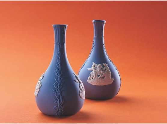 blue vase shot on orange