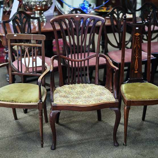Set of three Edwardian chairs, bought at auction