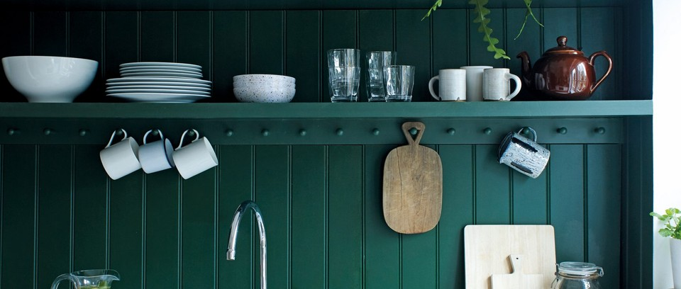 Country kitchen painted in Duck Green Estate Eggshell, £27 for 0.75l, Farrow & Ball.