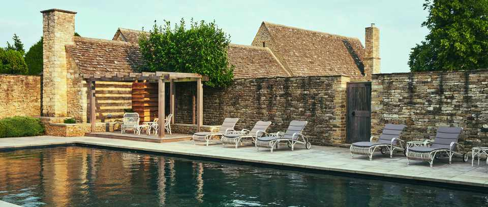 Dive into the Thyme outdoor swimming pool, fed by a natural subterranean stream.