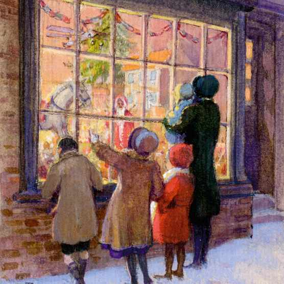 Christmas Treasures - mother and children at toyshop window