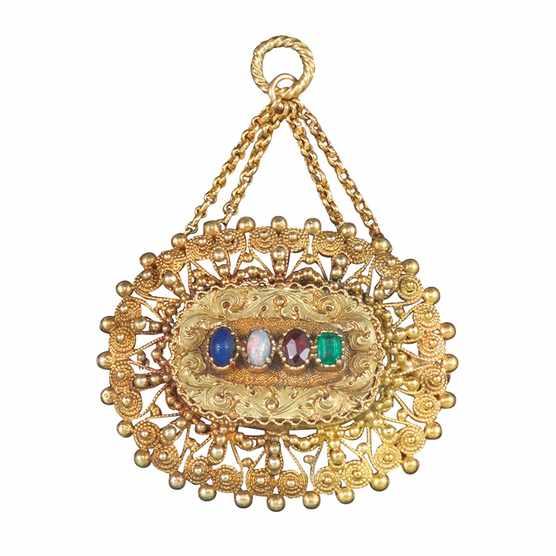 Late George III gold 'Love' brooch pendant made £1,900 at Woolley & Wallis.