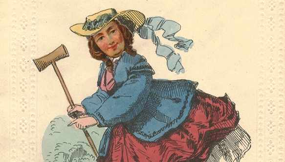 This example of a 'Vinegar Valentine', mocks a girl for her love of croquet. Amoret Tanner/Alamy Stock Photo