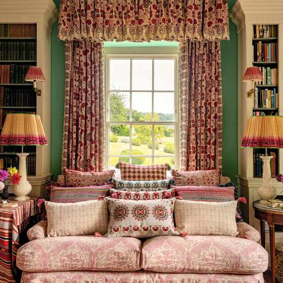 A living room by Penny Morrison shows how to mix print and pattern to great effect