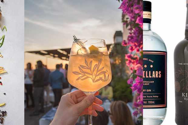 Trois images, dont une personne tenant un gin au coucher du soleil