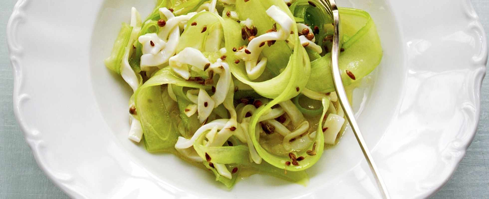 Marinated raw squid and celery salad