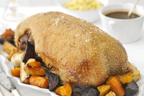 Roast goose with roast winter vegetables, apple sauce and gravy recipe