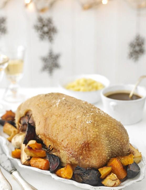 Roast goose with roast winter vegetables, apple sauce and gravy recipe