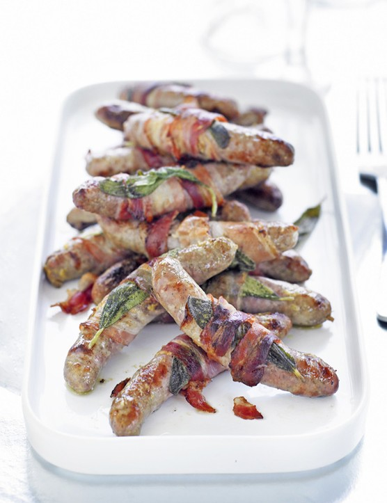 Chipolata Sausages Wrapped in Bacon and Sage Rolls Recipe